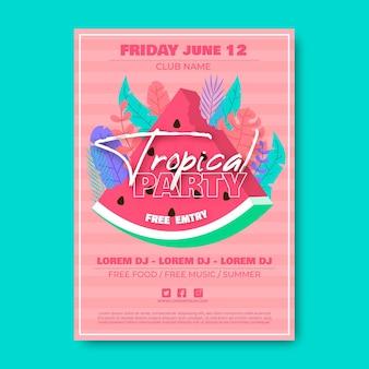 Шаблон плаката тропическая вечеринка с арбузом