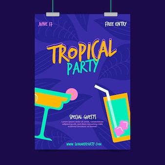 Tropical party poster template