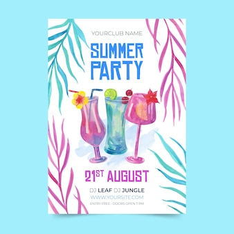 Шаблон плаката тропической вечеринки