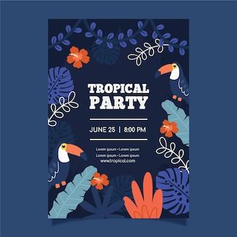 Modello di manifesto festa tropicale