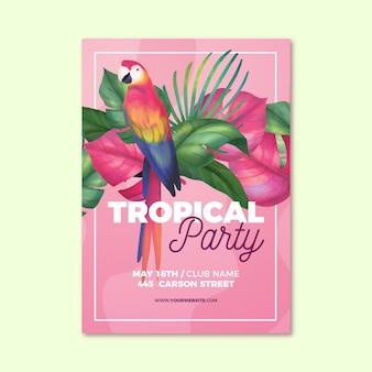 Manifesto festa tropicale con animali