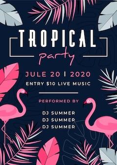 Плакат тропической вечеринки с животными