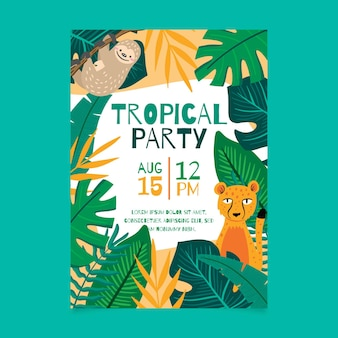 Tropical party poster with animals