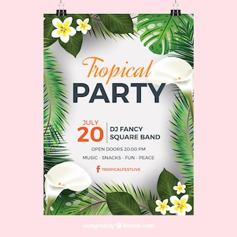 Tropical party poster with exotic leaves and flowers