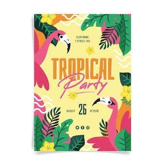 Tropical party poster with flamingoes