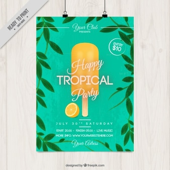 Tropical party poster with ice cream