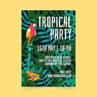 Manifesto del partito tropicale con foglie e pappagallo