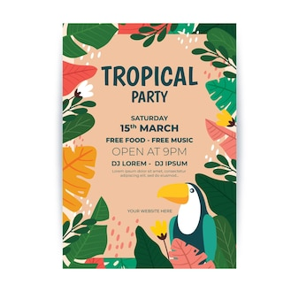 Manifesto del partito tropicale con foglie e tucano