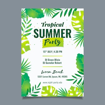 Tropical party poster with leaves