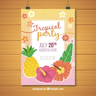 Tropical party poster with pineapple and flowers