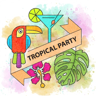 Tropical party. watercolor summer poster