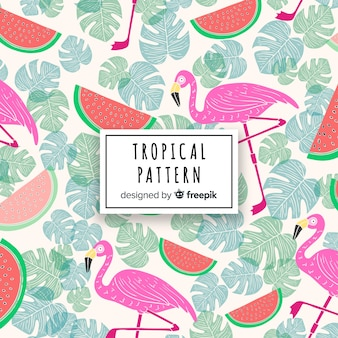 Tropical pattern background with flamingo