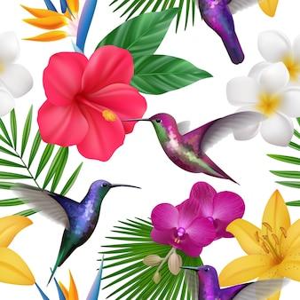 熱帯パターン。小さなハチドリ植物の美しいシームレスな背景を飛んでいるエキゾチックな花とコリブリ。花の近くを飛んでイラスト植物コリブリ