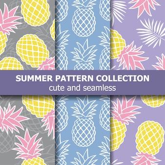 파인애플이 있는 열대 패턴 컬렉션입니다.