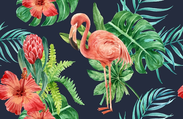 Tropical pattern flower watercolor, thanks card, textile print illustration