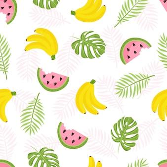 トロピカルパターン。黄色いバナナ、パイナップル、スイカ、ヤシの葉とシームレスな装飾的な背景。トレンドグランジラインを背景に明るい夏のデザイン。ベクトルイラスト