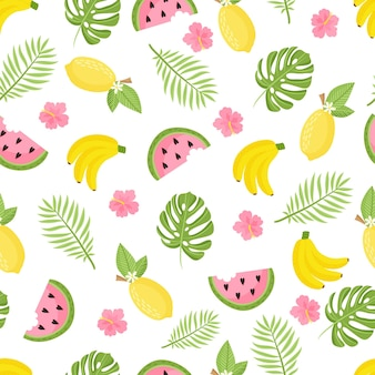 Tropical pattern. seamless decorative background with yellow bananas, pineapples, watermelon and palm leaves. bright summer design on a background of the trend grunge line. vector illustration