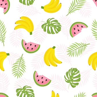 Tropical pattern seamless decorative background with yellow bananas pineapples watermelon