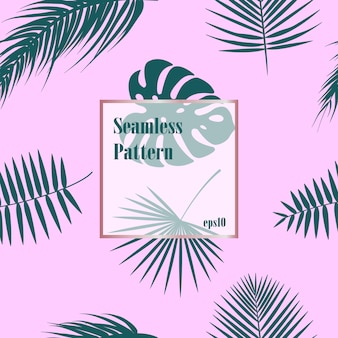 Tropical pattern seamless palm leaves
