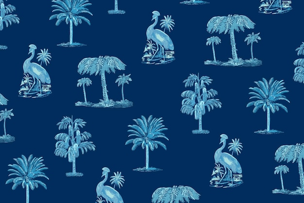 Tropical pattern summer background in blue tone