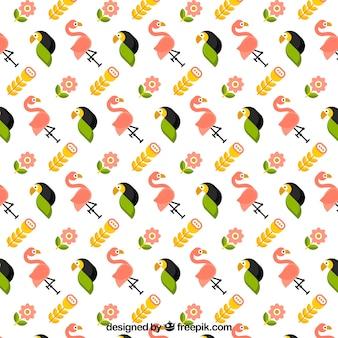 Тропический рисунок с птицами и растениями