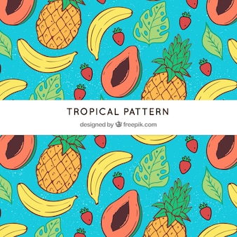Tropical pattern with delicious fruits
