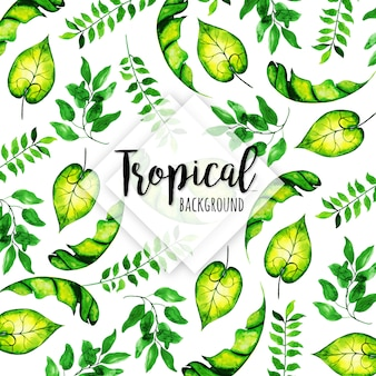 Tropical pattern with different leaves in watercolor style