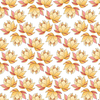 Tropical pattern with exotic flowers in cartoon style. bright summer print for design and background.