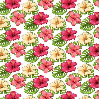 Тропический узор с экзотическими растениями, цветами и листьями в мультяшном стиле.
