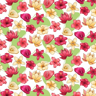 Tropical pattern with exotic plants, flowers and leaves in cartoon style.