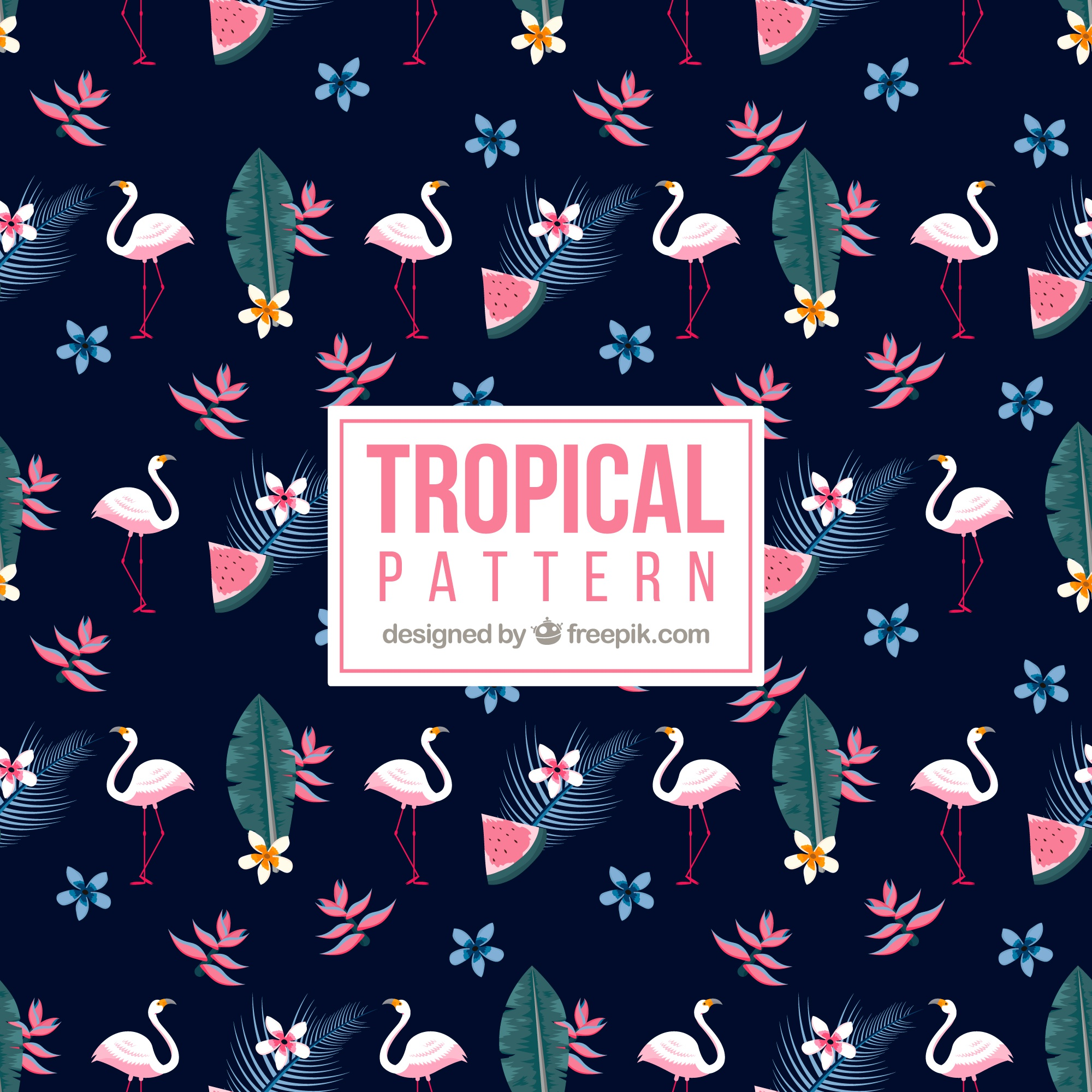 Tropical pattern with flamingos and plants