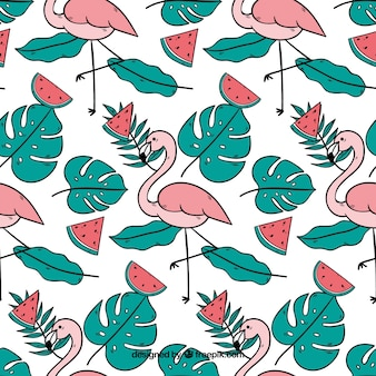 Tropical pattern with flamingos and watermelons
