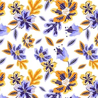 花と葉と熱帯のパターン