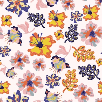 Tropical pattern with flowers and leaves