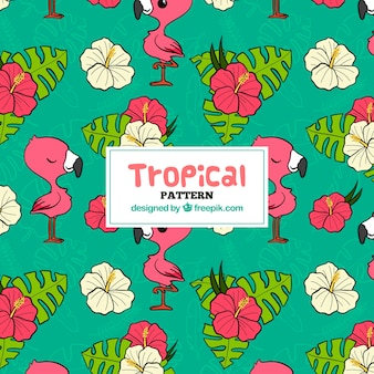 Tropical pattern with leaves and flamingos