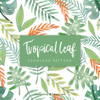 Tropical pattern with leaves