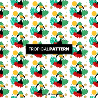 Tropical pattern with pelican