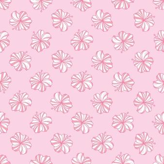 Тропический узор с розовыми цветами и зелеными листьями