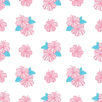 Tropical pattern with pink flowers and green leaves