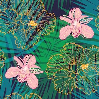 ピンクの蘭と黄色のハイビスカスベクトルシームレスパターンと熱帯のパターン