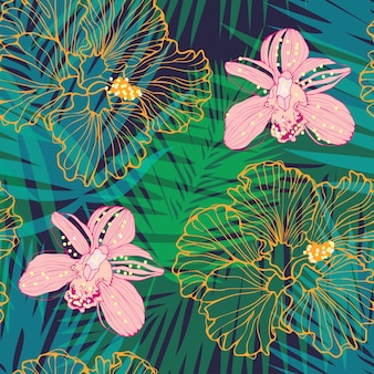 Tropical pattern with pink orchids and yellow hibiscus vector seamless pattern