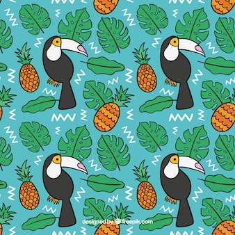 Tropical pattern with toucans and pineapples