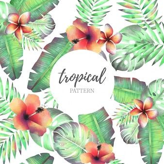 Tropical Pattern with Watercolor Flowers