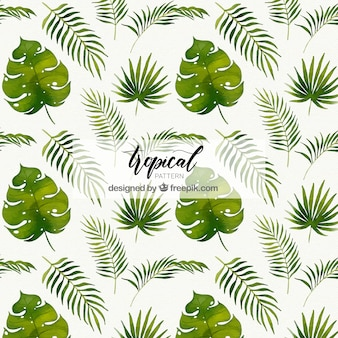 Tropical patterns with different plants in watercolor style