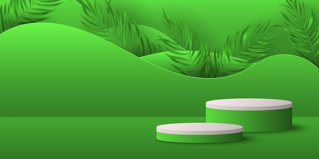 ヤシの葉のディスプレイが付いている熱帯の台座