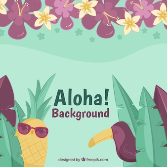 Tropical pineapple background with sunglasses and toucan