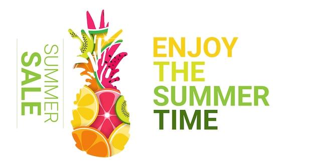 Tropical pineapple fruits colorful enjoy summer organic