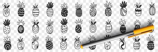 Тропический ананас фрукты каракули набор иллюстрации