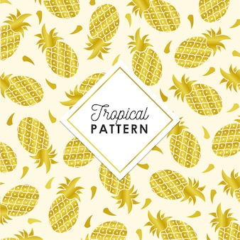 Tropical pineapple pattern in golden color