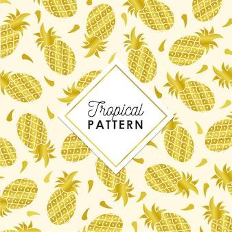 黄金色の熱帯のパイナップルパターン
